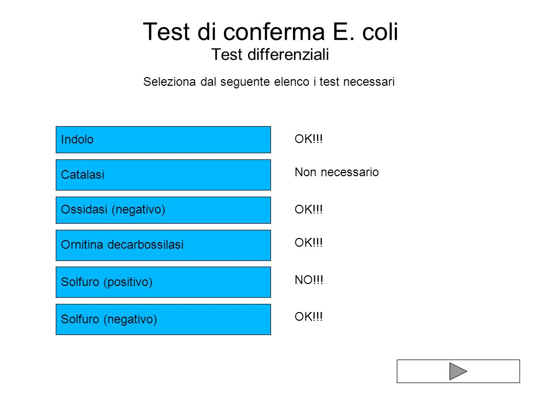 Test di conferma E. coli Test differenziali