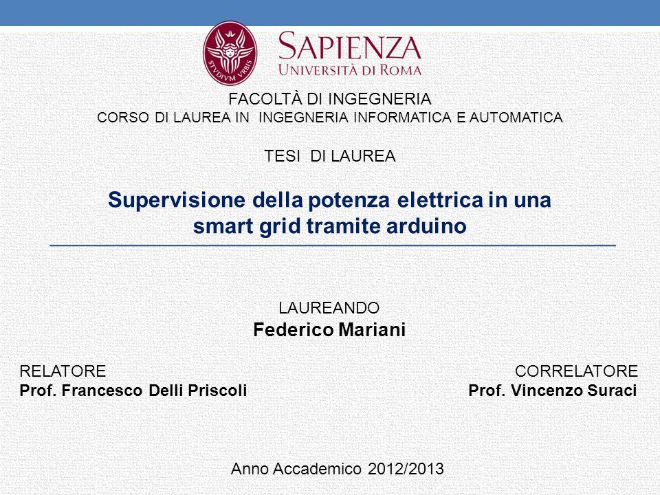 Supervisione della potenza elettrica in una smart grid tramite arduino