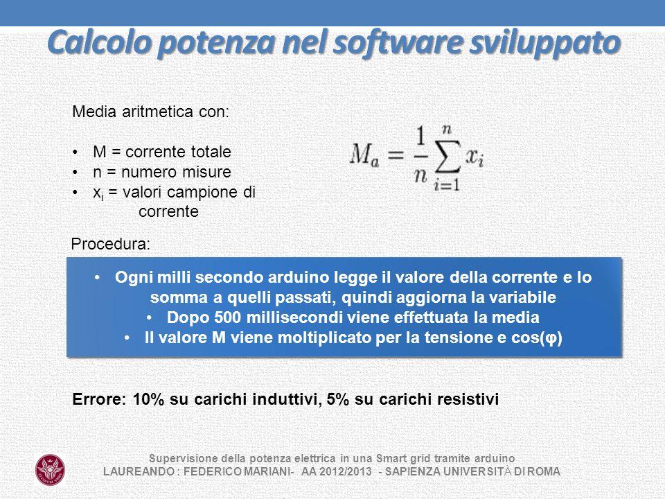 Calcolo potenza nel software sviluppato