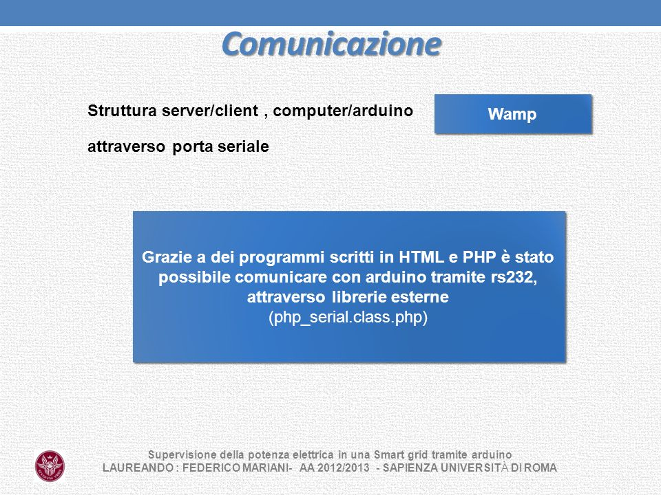 Comunicazione Struttura server/client , computer/arduino Wamp