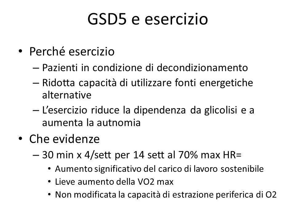 GSD5 e esercizio Perché esercizio Che evidenze