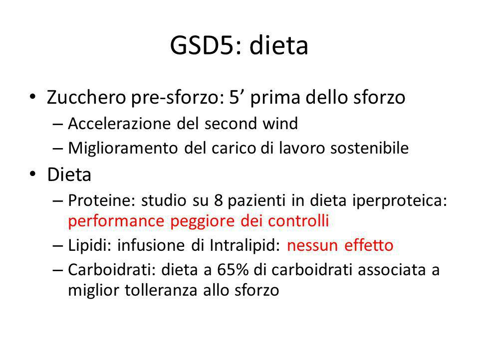 GSD5: dieta Zucchero pre-sforzo: 5' prima dello sforzo Dieta