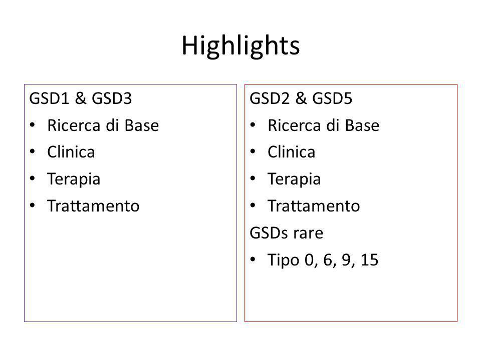 Highlights GSD1 & GSD3 Ricerca di Base Clinica Terapia Trattamento