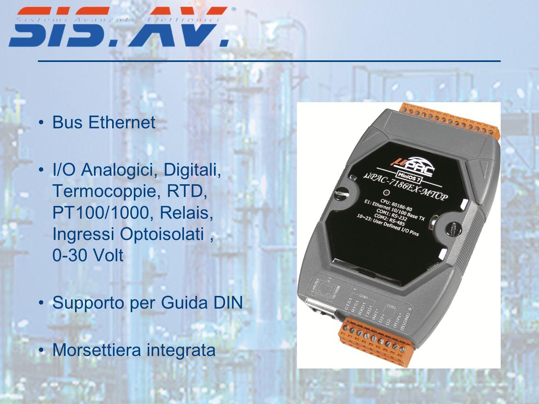 Bus Ethernet I/O Analogici, Digitali, Termocoppie, RTD, PT100/1000, Relais, Ingressi Optoisolati , 0-30 Volt.