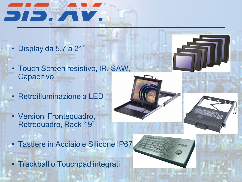 Display da 5.7 a 21 Touch Screen resistivo, IR, SAW, Capacitivo. Retroilluminazione a LED. Versioni Frontequadro, Retroquadro, Rack 19
