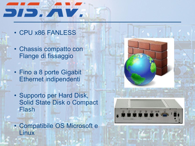 CPU x86 FANLESS Chassis compatto con Flange di fissaggio. Fino a 8 porte Gigabit Ethernet indipendenti.