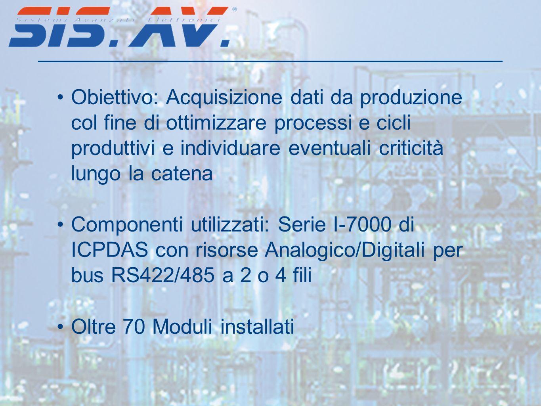 Obiettivo: Acquisizione dati da produzione col fine di ottimizzare processi e cicli produttivi e individuare eventuali criticità lungo la catena