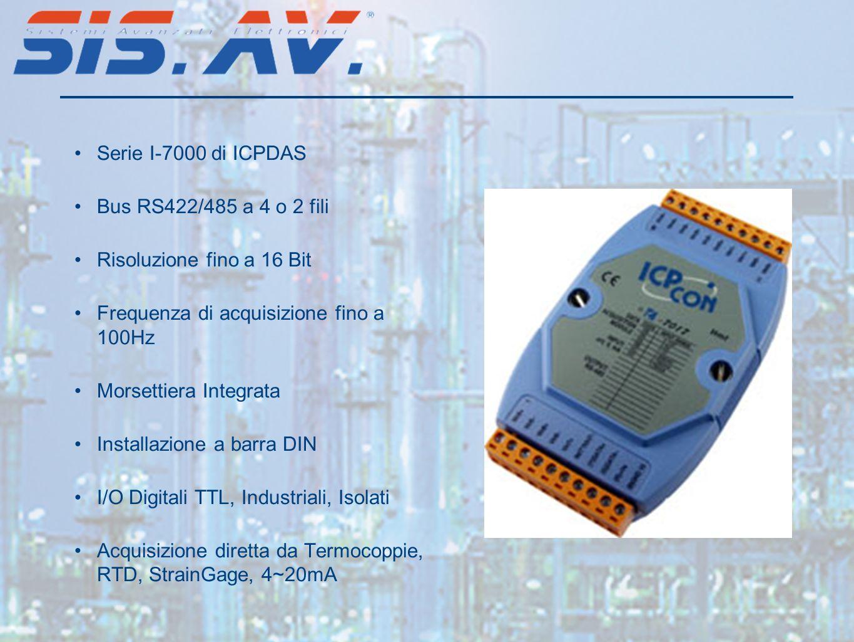 Serie I-7000 di ICPDAS Bus RS422/485 a 4 o 2 fili. Risoluzione fino a 16 Bit. Frequenza di acquisizione fino a 100Hz.