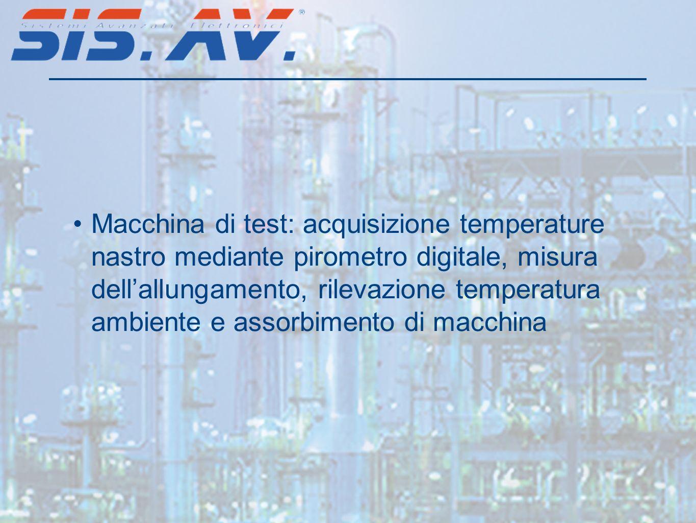 Macchina di test: acquisizione temperature nastro mediante pirometro digitale, misura dell'allungamento, rilevazione temperatura ambiente e assorbimento di macchina