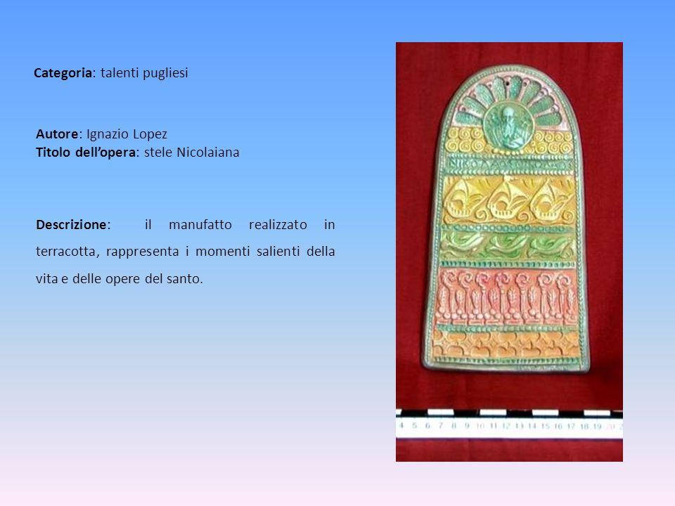 Autore: Ignazio Lopez Titolo dell'opera: stele Nicolaiana