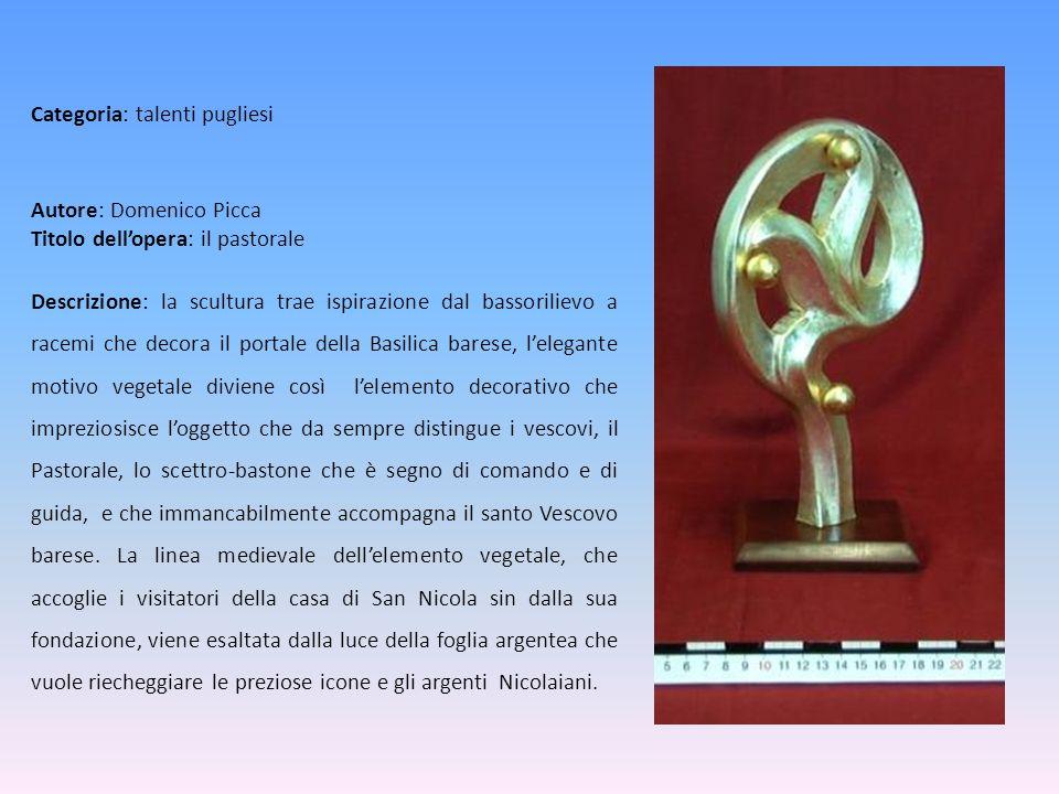 Autore: Domenico Picca Titolo dell'opera: il pastorale