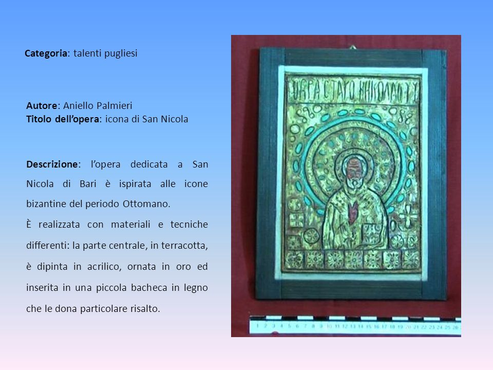 Autore: Aniello Palmieri Titolo dell'opera: icona di San Nicola