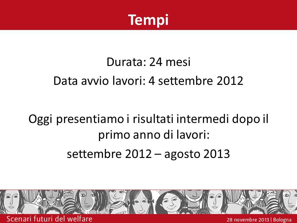 Tempi Durata: 24 mesi Data avvio lavori: 4 settembre 2012