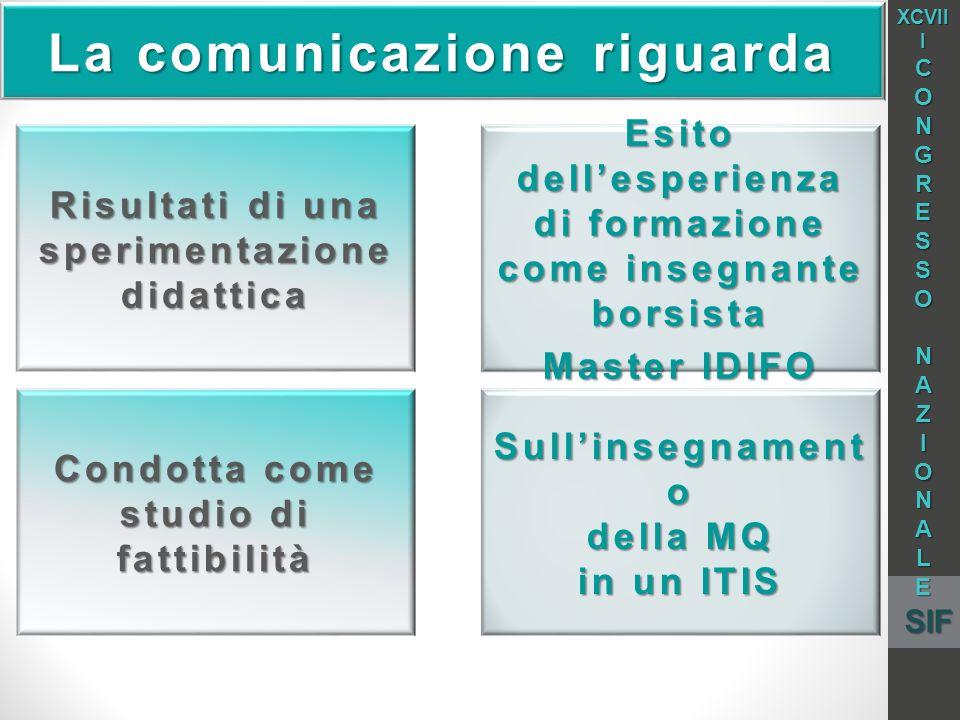 La comunicazione riguarda