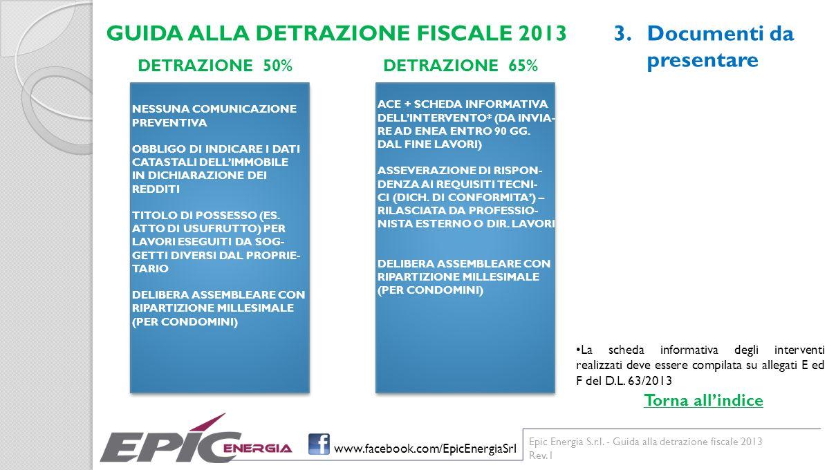 GUIDA ALLA DETRAZIONE FISCALE 2013 Documenti da presentare