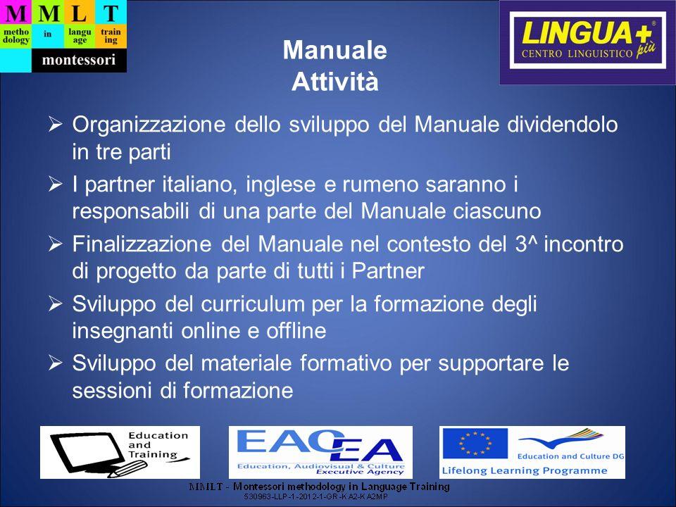 Manuale Attività. Organizzazione dello sviluppo del Manuale dividendolo in tre parti.