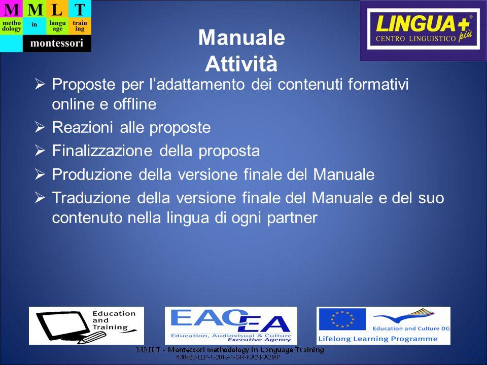 Manuale Attività. Proposte per l'adattamento dei contenuti formativi online e offline. Reazioni alle proposte.