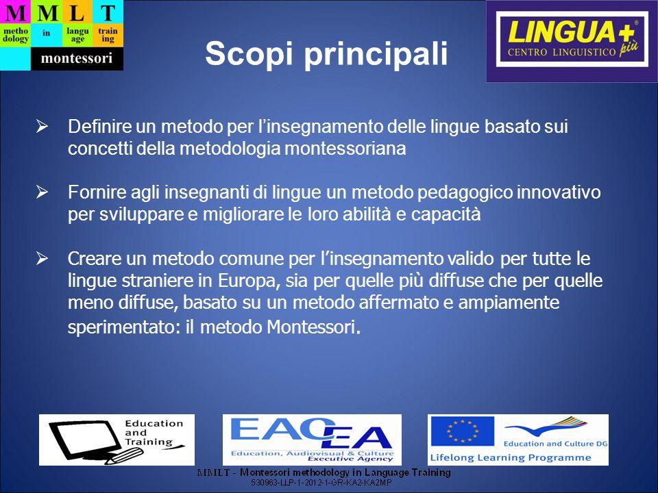 Scopi principali Definire un metodo per l'insegnamento delle lingue basato sui concetti della metodologia montessoriana.