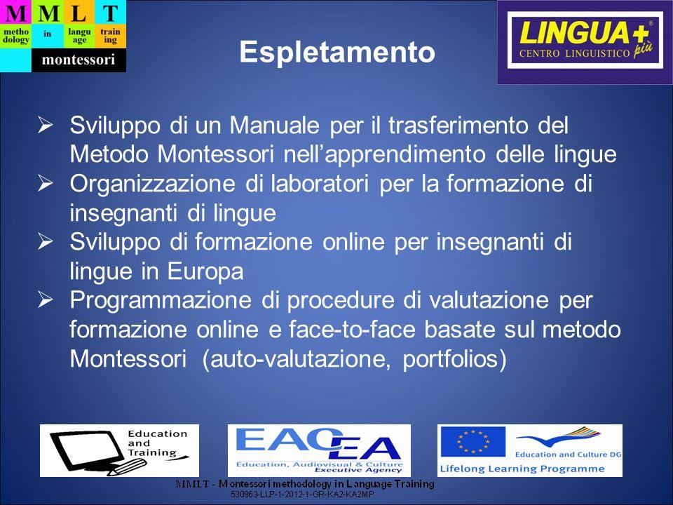 Espletamento Sviluppo di un Manuale per il trasferimento del Metodo Montessori nell'apprendimento delle lingue.