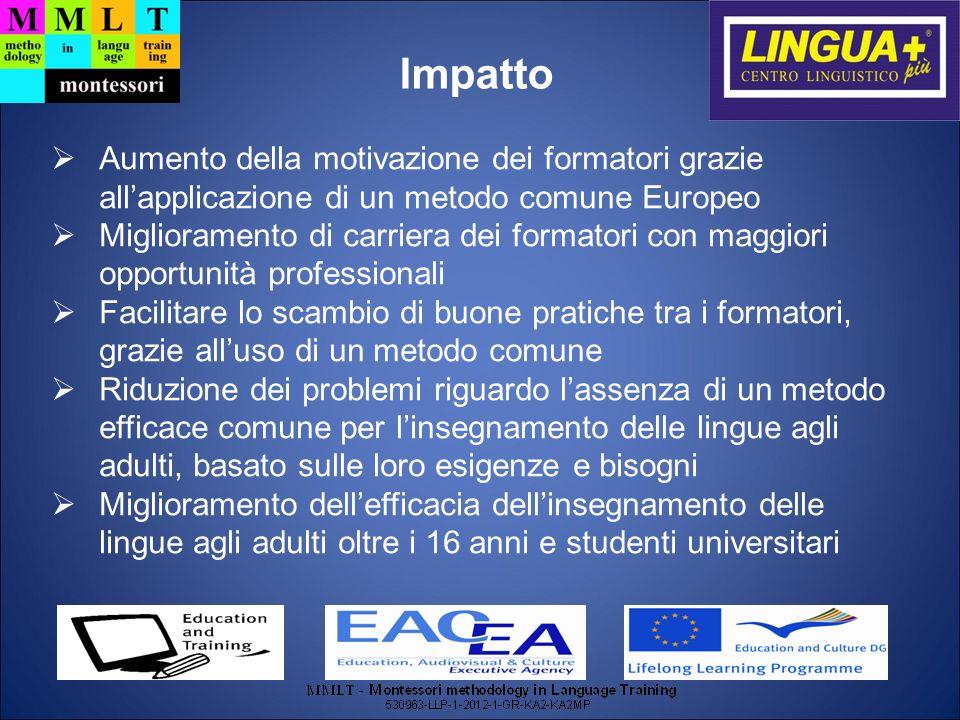 Impatto Aumento della motivazione dei formatori grazie all'applicazione di un metodo comune Europeo.