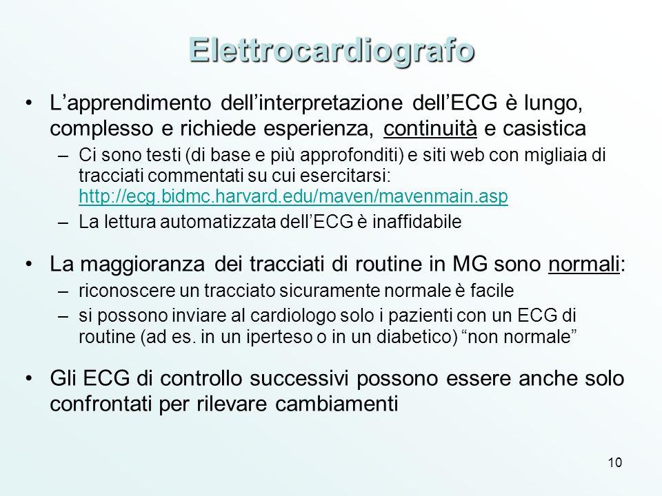 Elettrocardiografo L'apprendimento dell'interpretazione dell'ECG è lungo, complesso e richiede esperienza, continuità e casistica.