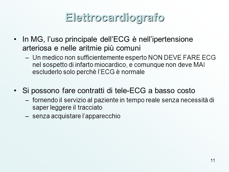 Elettrocardiografo In MG, l'uso principale dell'ECG è nell'ipertensione arteriosa e nelle aritmie più comuni.