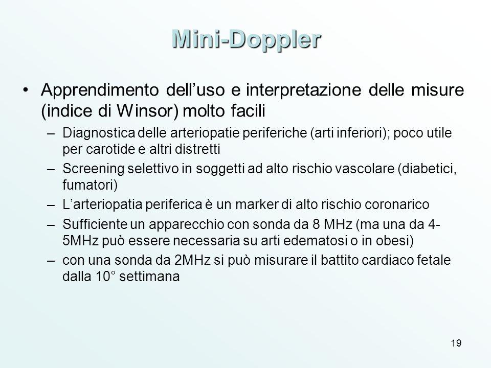 Mini-Doppler Apprendimento dell'uso e interpretazione delle misure (indice di Winsor) molto facili.