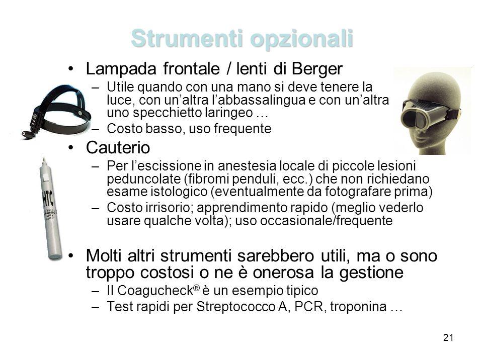 Strumenti opzionali Lampada frontale / lenti di Berger Cauterio