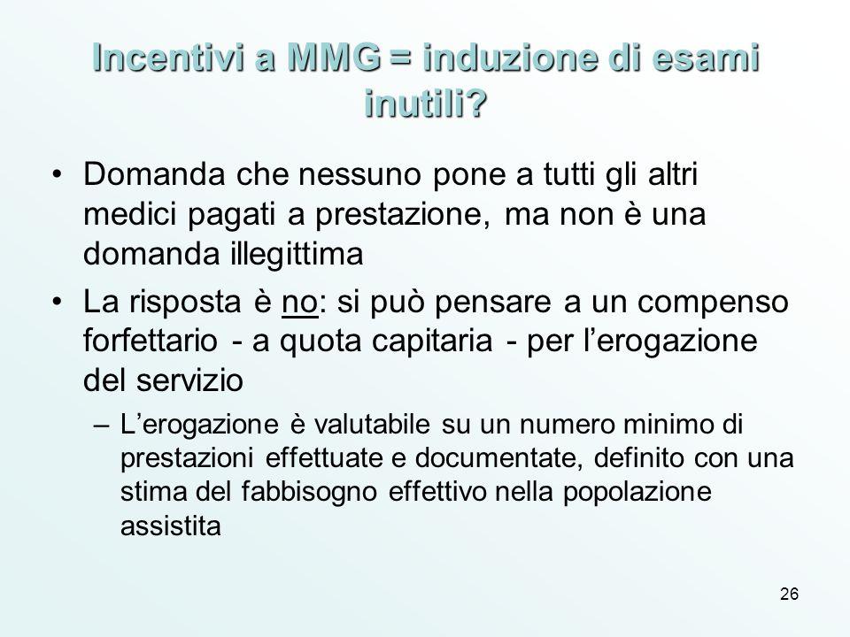 Incentivi a MMG = induzione di esami inutili