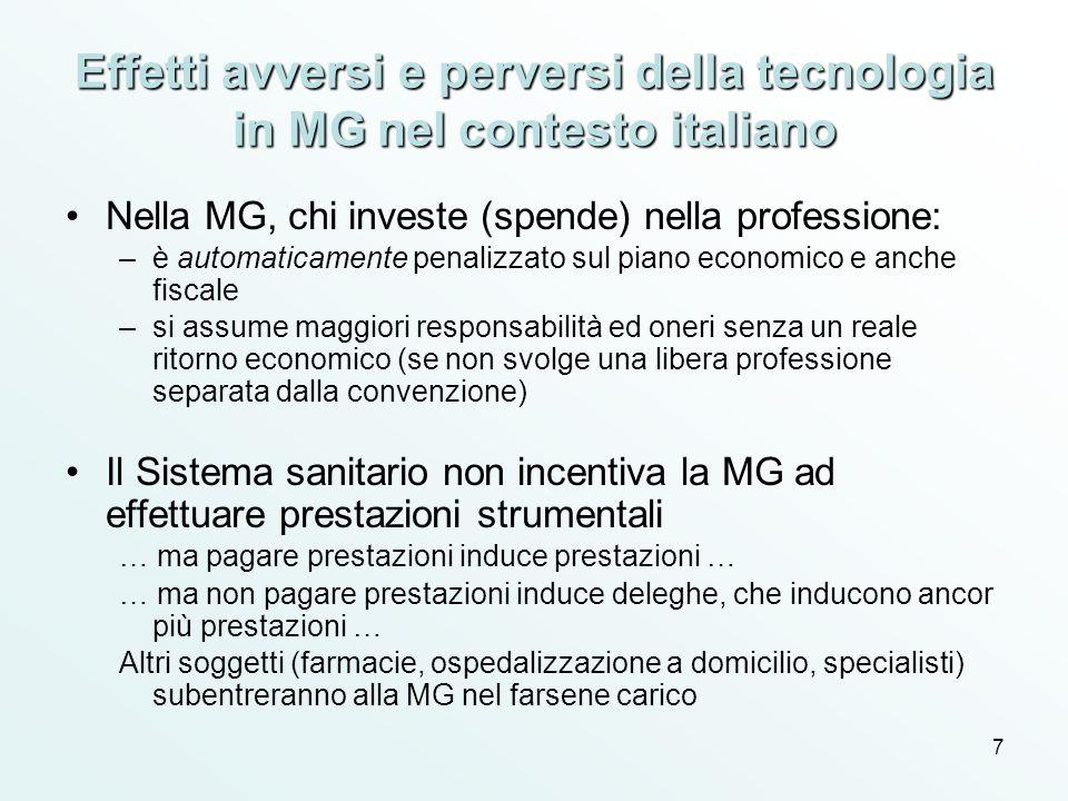 Effetti avversi e perversi della tecnologia in MG nel contesto italiano