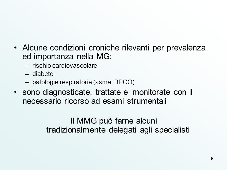 Il MMG può farne alcuni tradizionalmente delegati agli specialisti
