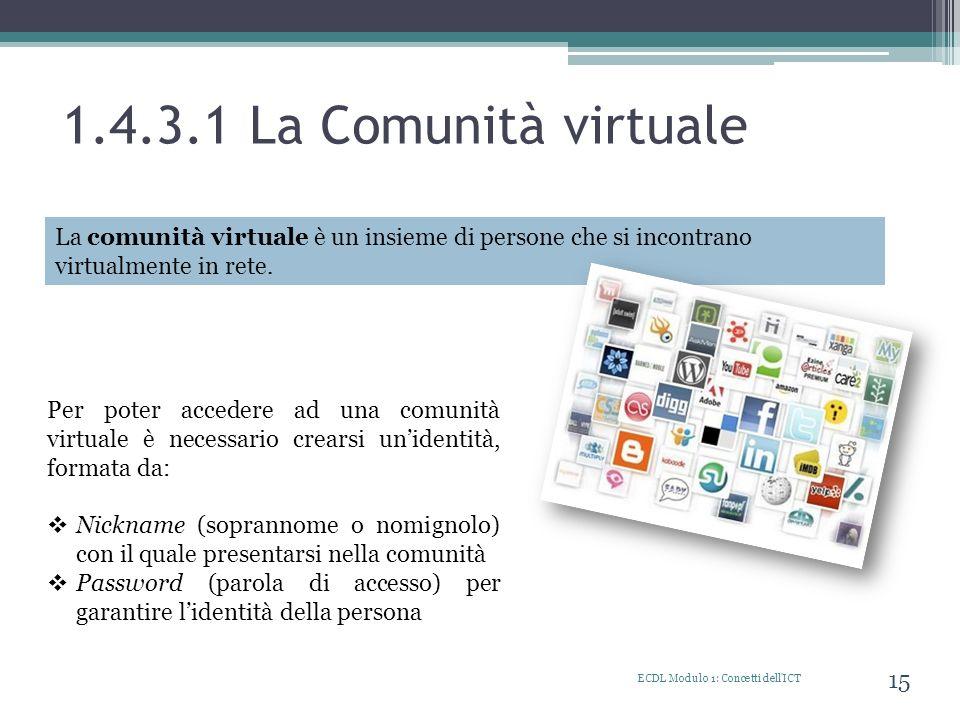 1.4.3.1 La Comunità virtuale La comunità virtuale è un insieme di persone che si incontrano virtualmente in rete.