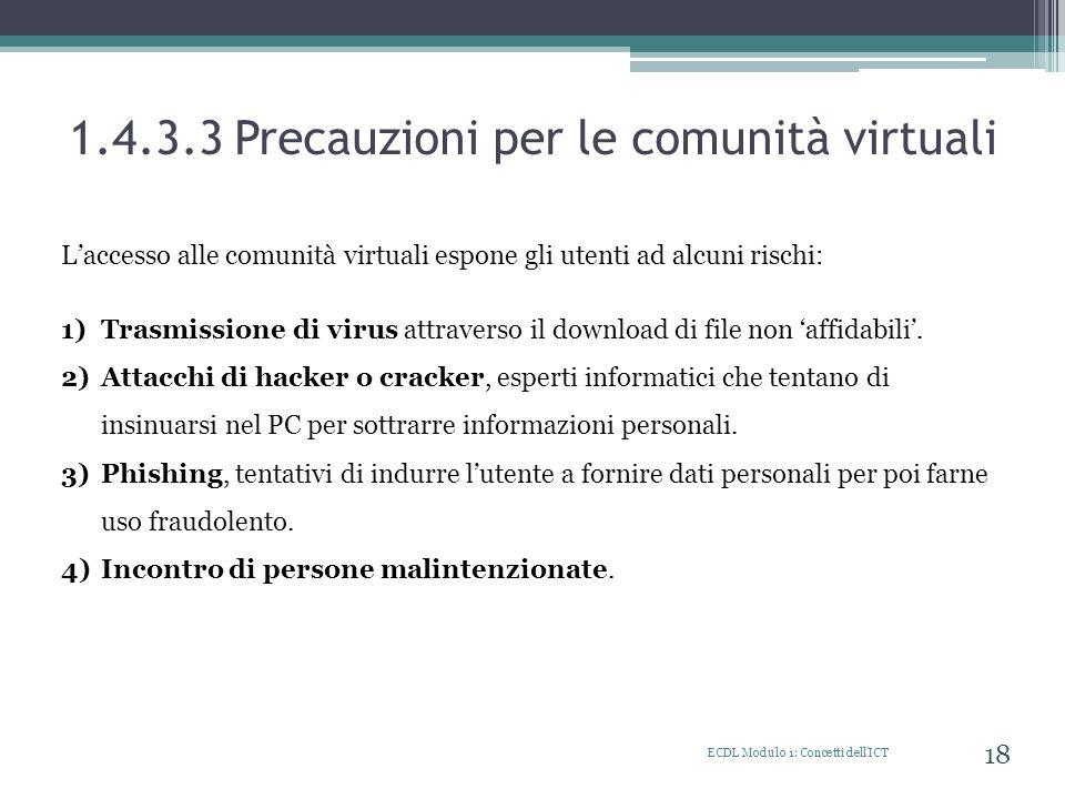 1.4.3.3 Precauzioni per le comunità virtuali