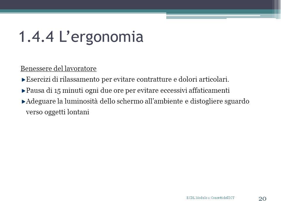 1.4.4 L'ergonomia Benessere del lavoratore