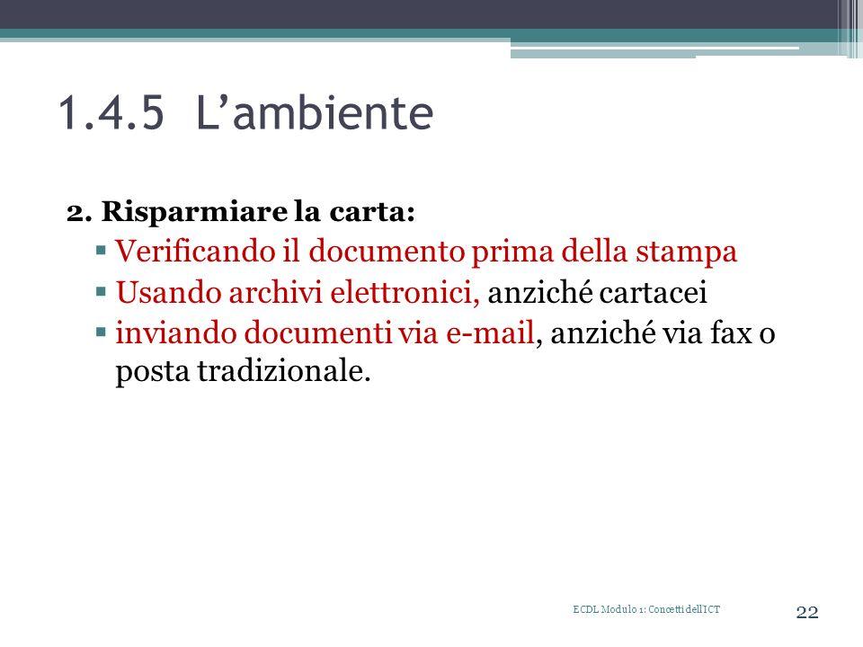 1.4.5 L'ambiente Verificando il documento prima della stampa