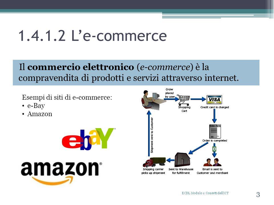 1.4.1.2 L'e-commerce Il commercio elettronico (e-commerce) è la compravendita di prodotti e servizi attraverso internet.