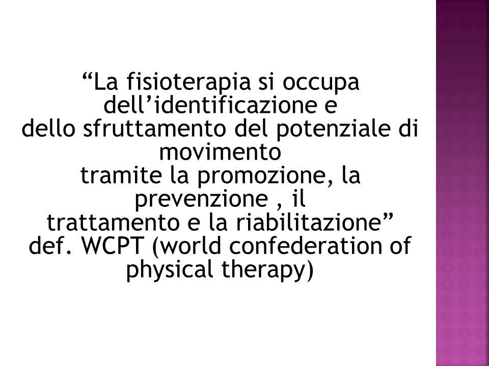 La fisioterapia si occupa dell'identificazione e dello sfruttamento del potenziale di movimento tramite la promozione, la prevenzione , il trattamento e la riabilitazione def.