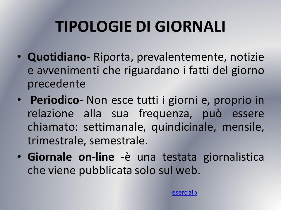 TIPOLOGIE DI GIORNALI Quotidiano- Riporta, prevalentemente, notizie e avvenimenti che riguardano i fatti del giorno precedente.