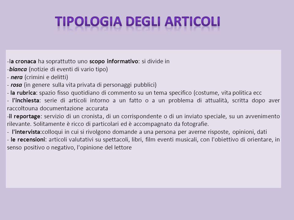 Tipologia degli articoli