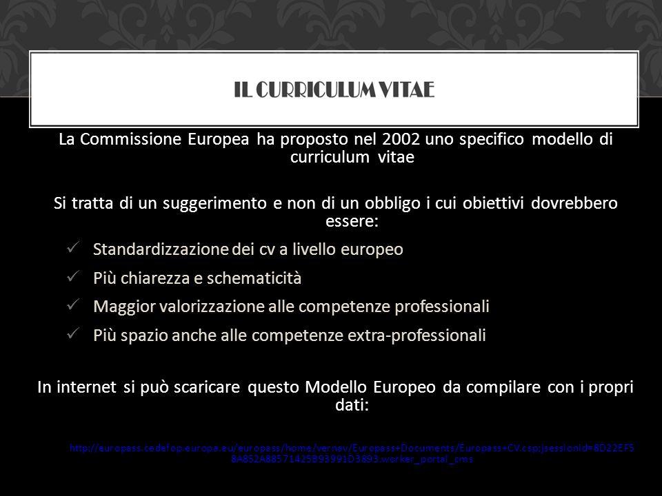 Standardizzazione dei cv a livello europeo