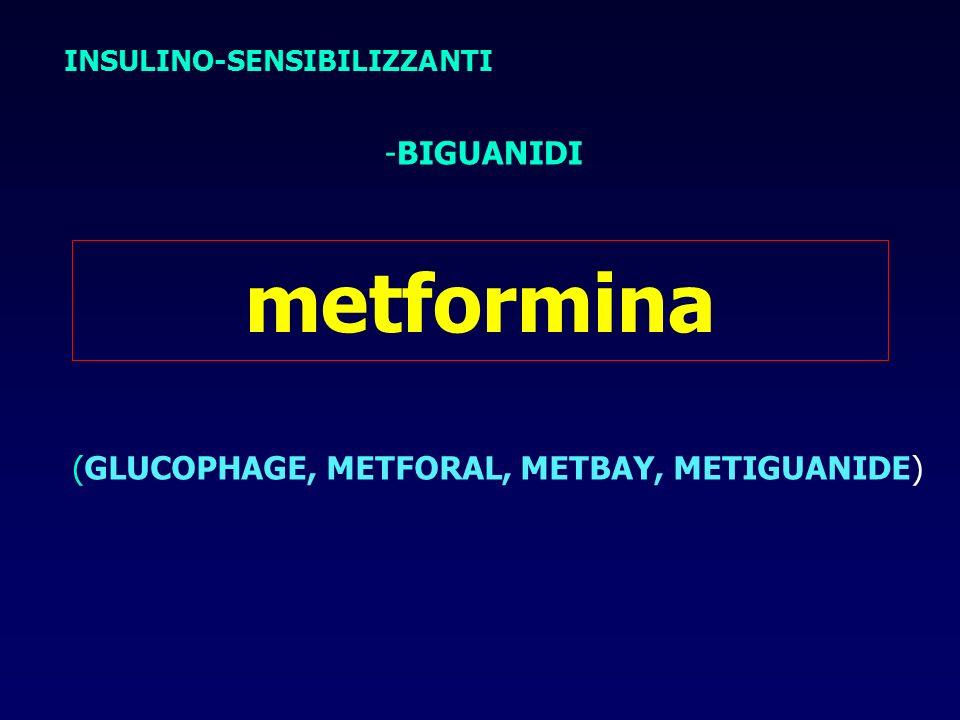 metformina -BIGUANIDI (GLUCOPHAGE, METFORAL, METBAY, METIGUANIDE)