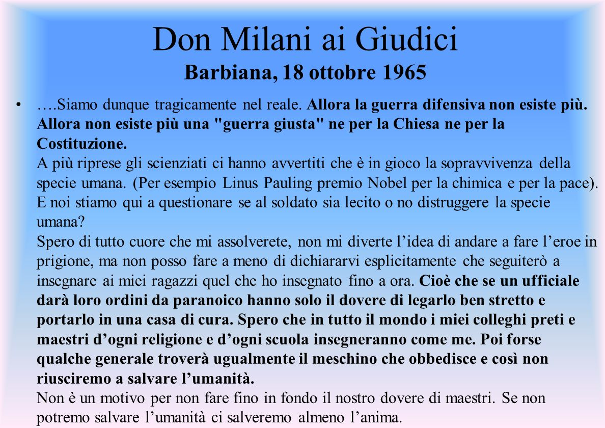 Don Milani ai Giudici Barbiana, 18 ottobre 1965