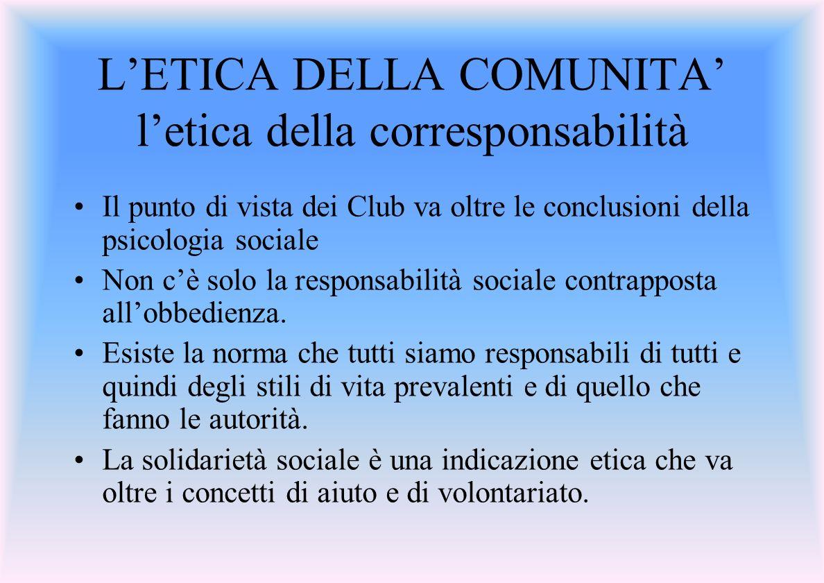 L'ETICA DELLA COMUNITA' l'etica della corresponsabilità