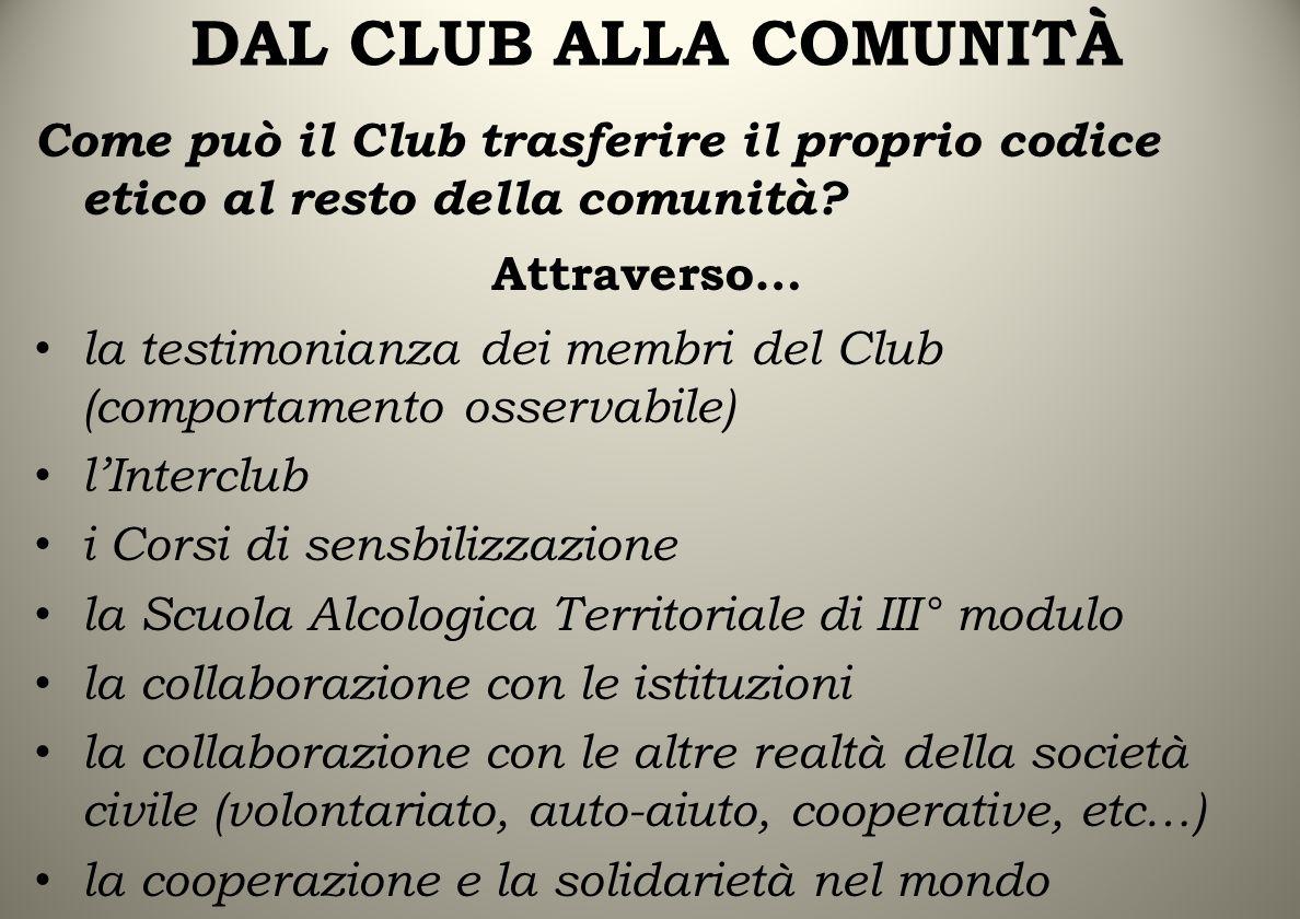 DAL CLUB ALLA COMUNITÀ Come può il Club trasferire il proprio codice etico al resto della comunità