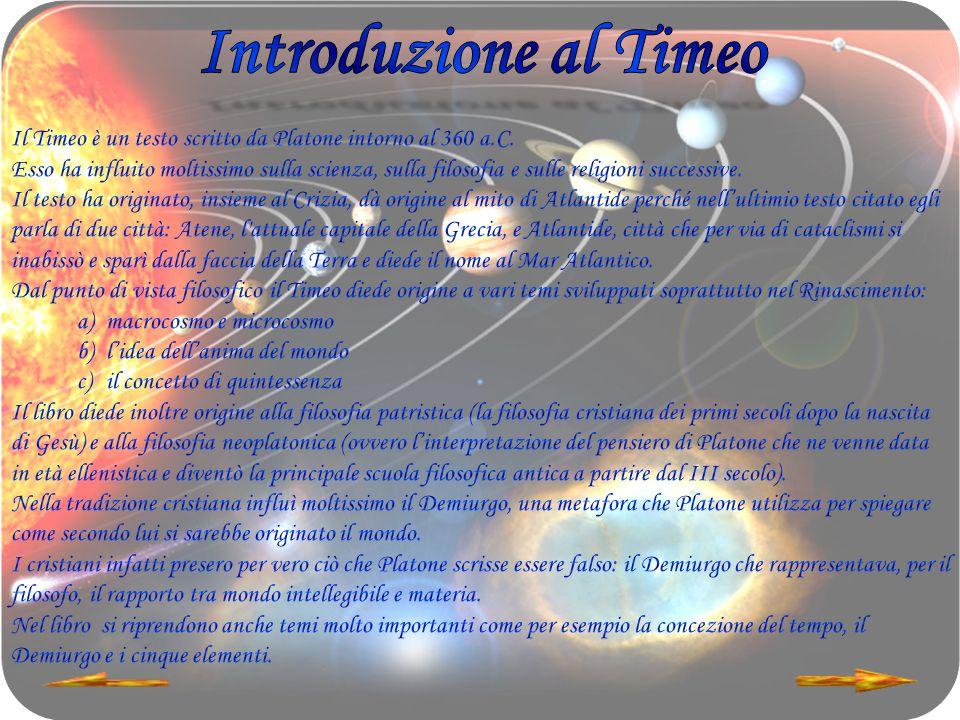 Introduzione al Timeo Il Timeo è un testo scritto da Platone intorno al 360 a.C.