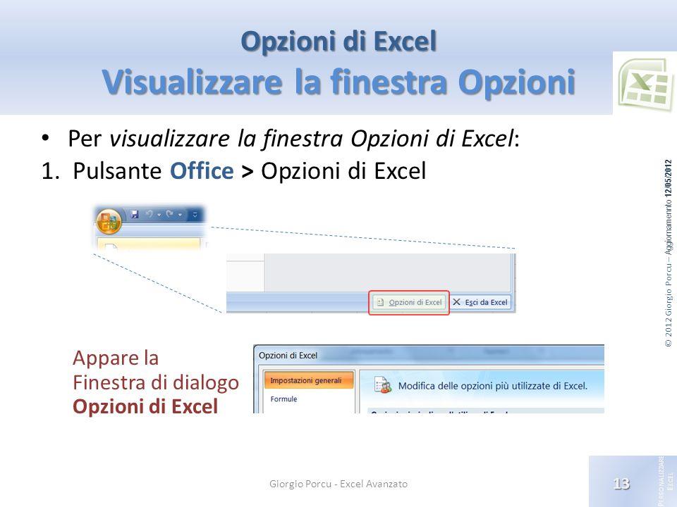 Opzioni di Excel Visualizzare la finestra Opzioni