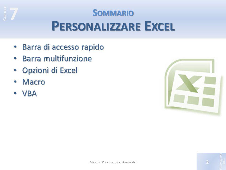 Sommario Personalizzare Excel