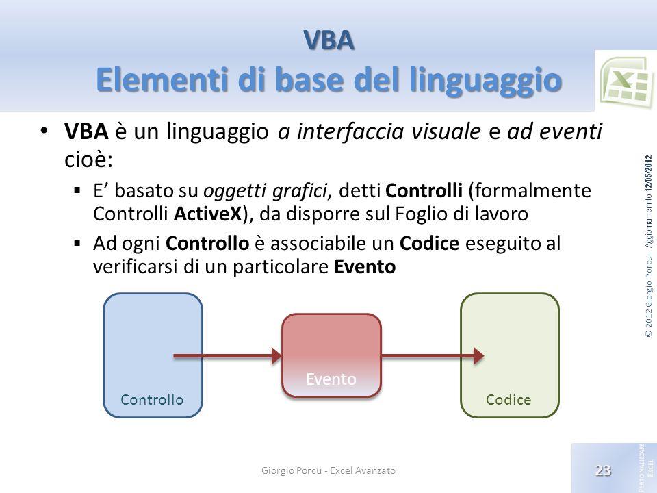 VBA Elementi di base del linguaggio