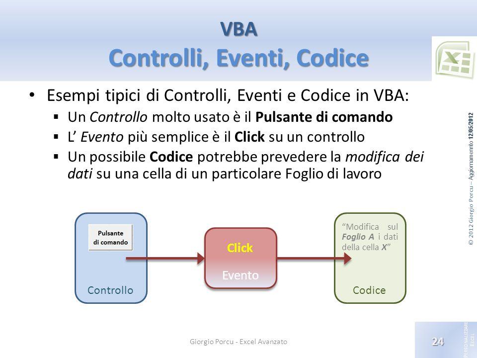 VBA Controlli, Eventi, Codice
