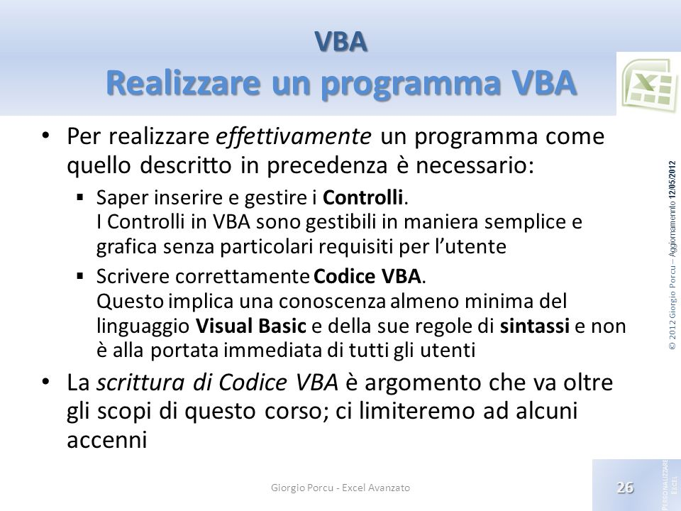 VBA Realizzare un programma VBA